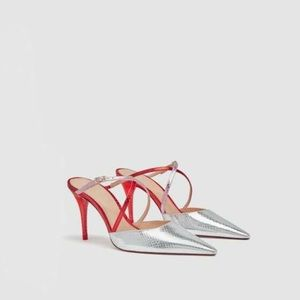 New Zara metallic snakeskin red and silver heels